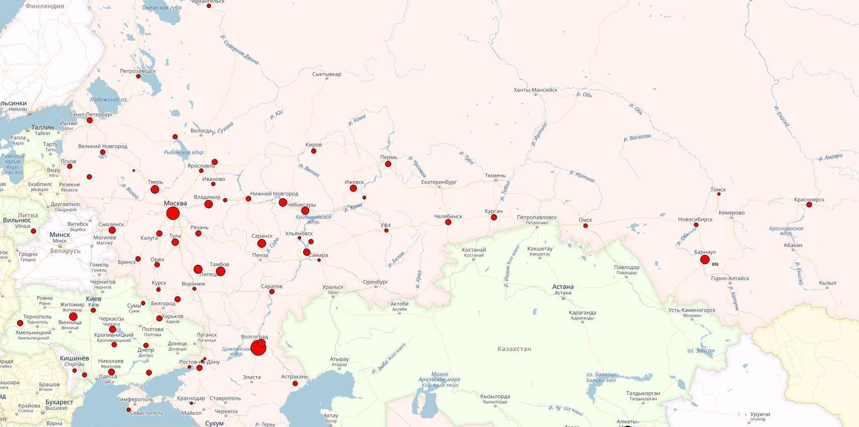 Карта размещения колл-центров